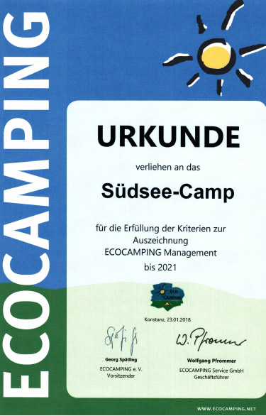 Eco Camping Zertifikat